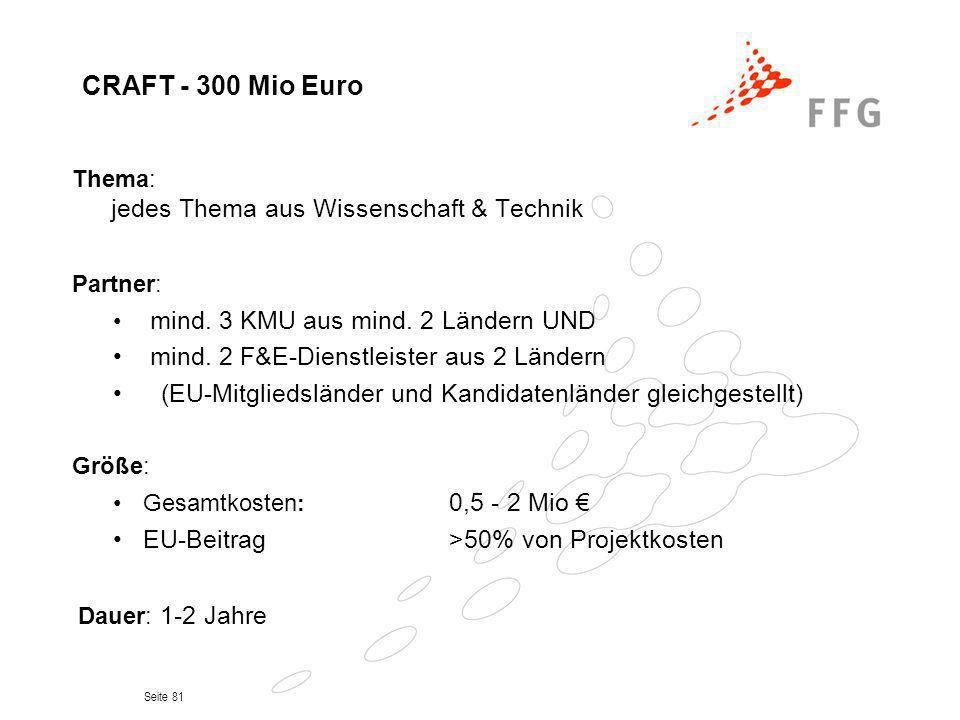 CRAFT - 300 Mio Euro Partner: mind. 2 F&E-Dienstleister aus 2 Ländern
