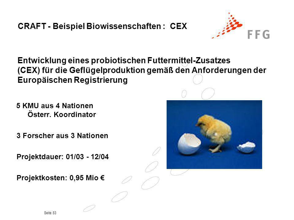 CRAFT - Beispiel Biowissenschaften : CEX
