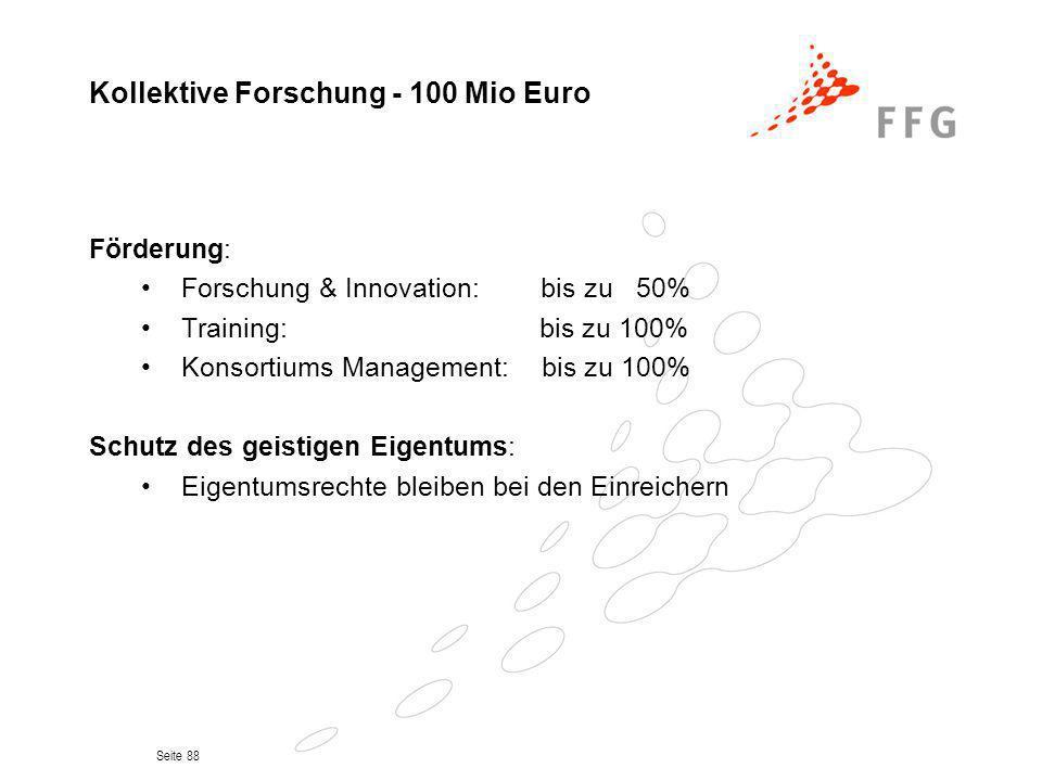 Kollektive Forschung - 100 Mio Euro