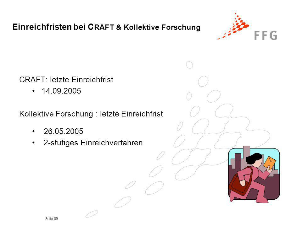 Einreichfristen bei CRAFT & Kollektive Forschung
