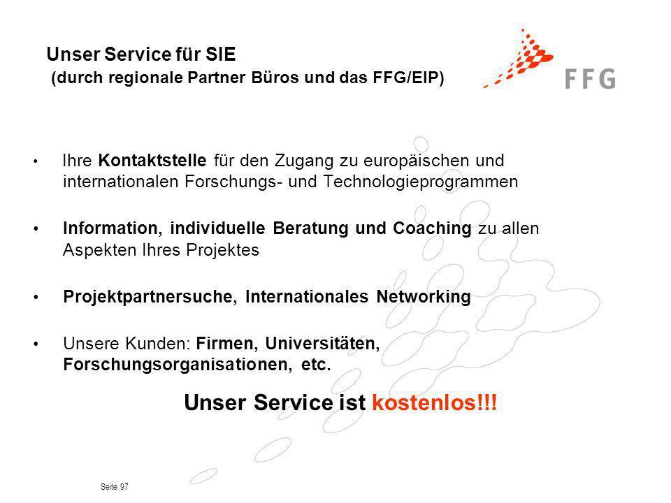 Unser Service für SIE (durch regionale Partner Büros und das FFG/EIP)