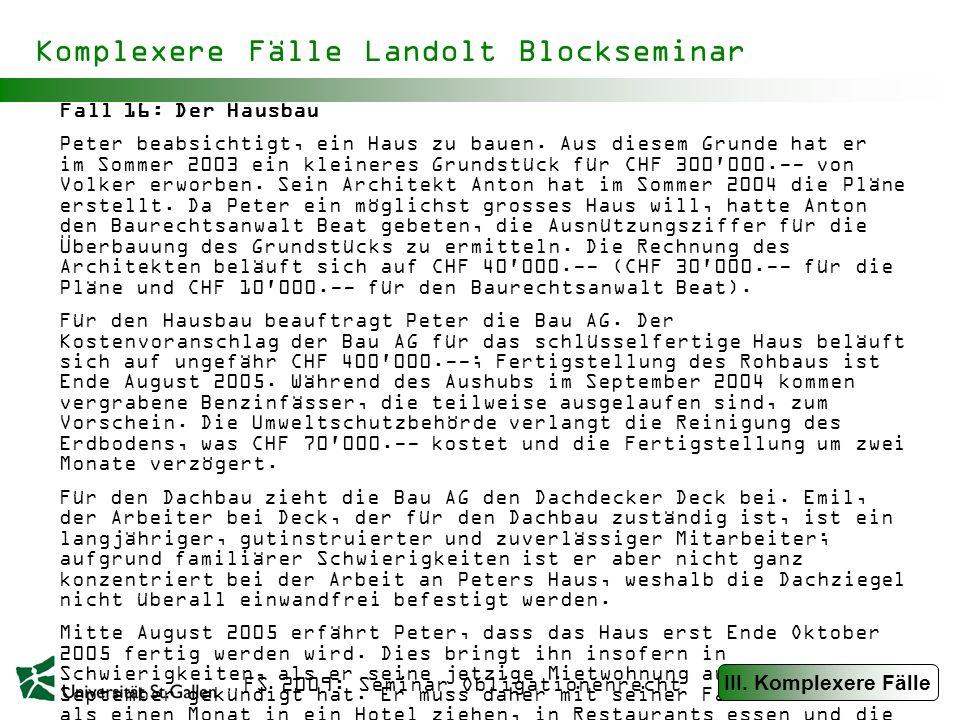 Komplexere Fälle Landolt Blockseminar