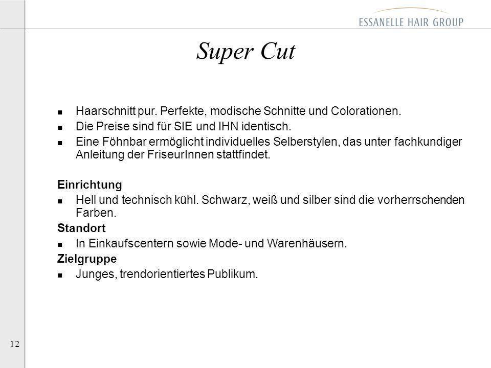 Super Cut Haarschnitt pur. Perfekte, modische Schnitte und Colorationen. Die Preise sind für SIE und IHN identisch.