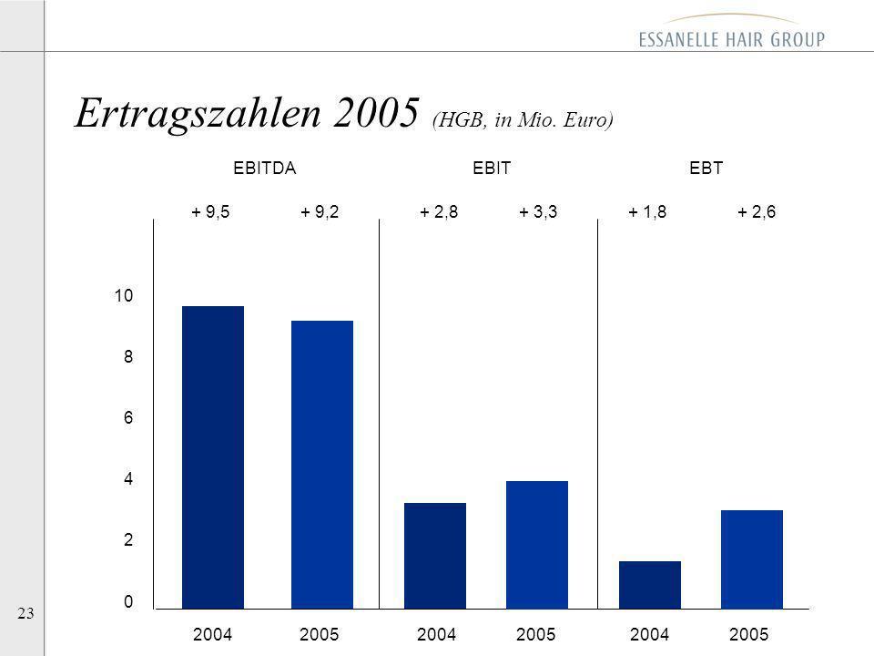 Ertragszahlen 2005 (HGB, in Mio. Euro)
