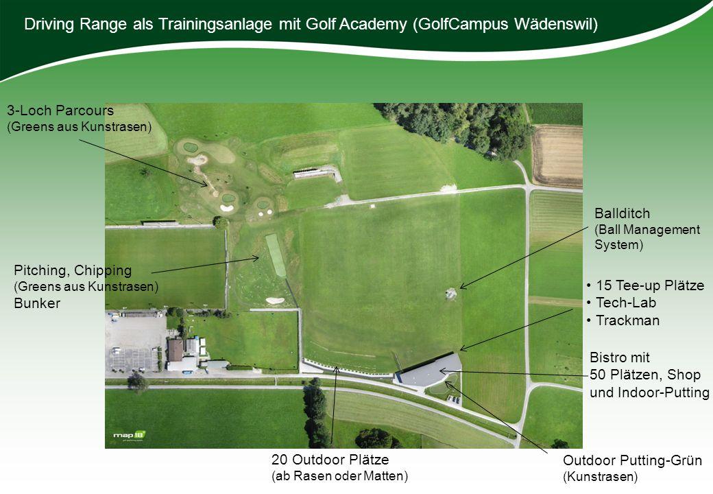Driving Range als Trainingsanlage mit Golf Academy (GolfCampus Wädenswil)