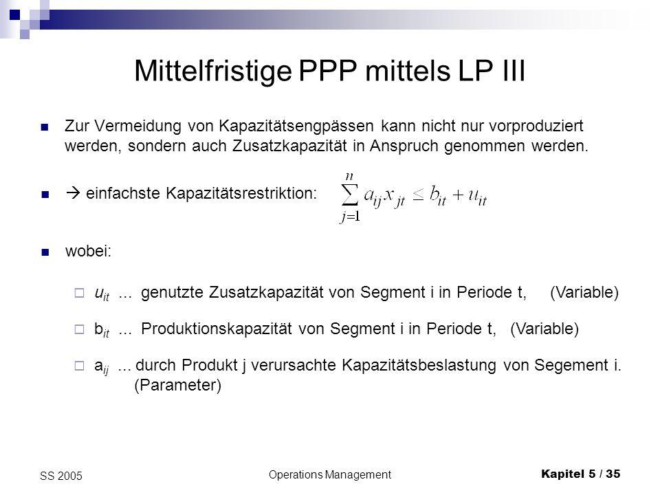 Mittelfristige PPP mittels LP III