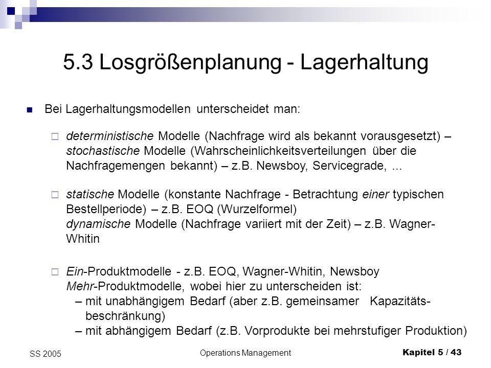 5.3 Losgrößenplanung - Lagerhaltung