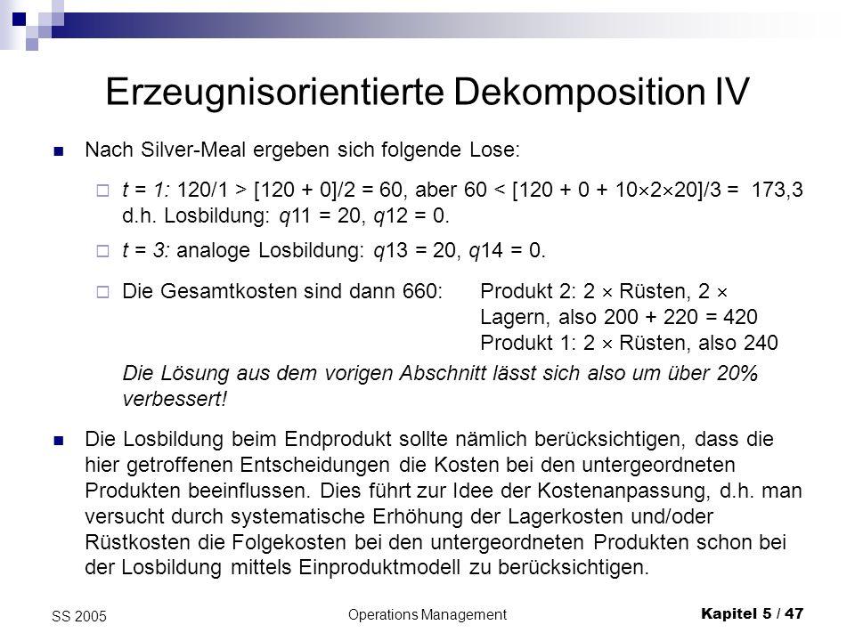Erzeugnisorientierte Dekomposition IV