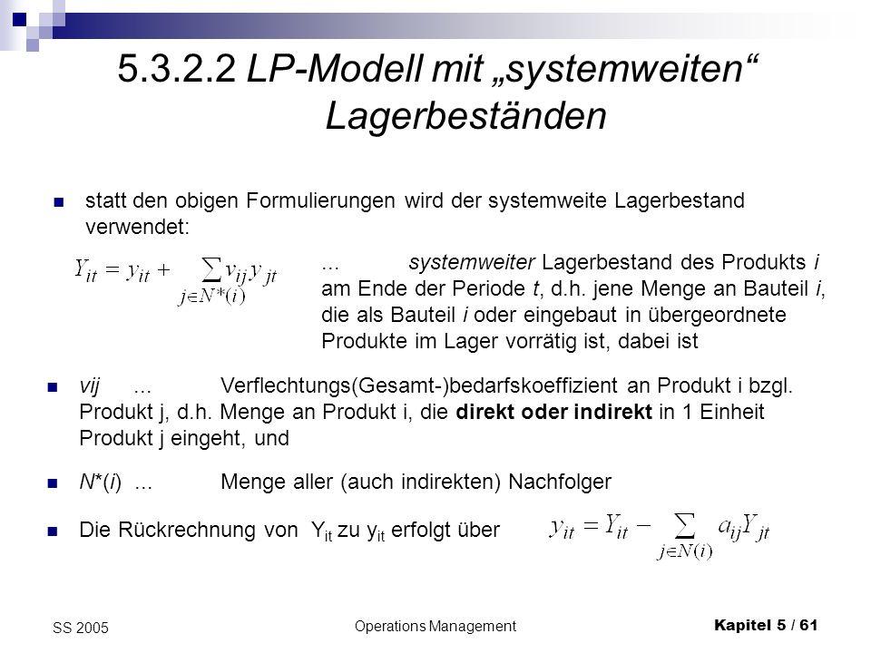 """5.3.2.2 LP-Modell mit """"systemweiten Lagerbeständen"""