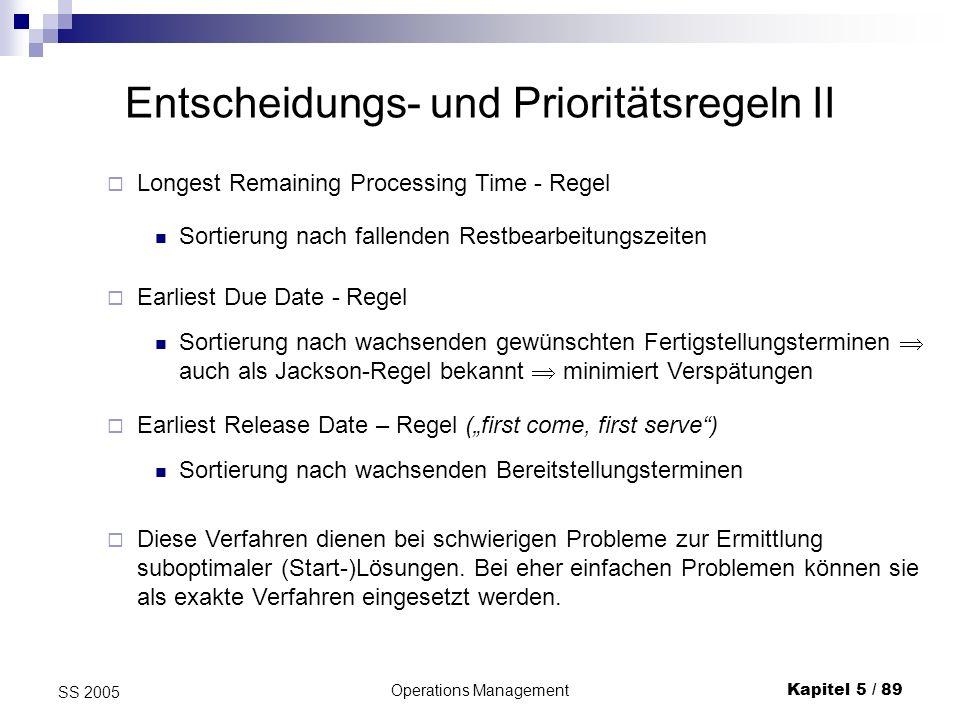 Entscheidungs- und Prioritätsregeln II