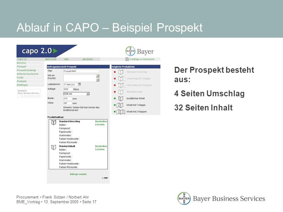 Ablauf in CAPO – Beispiel Prospekt