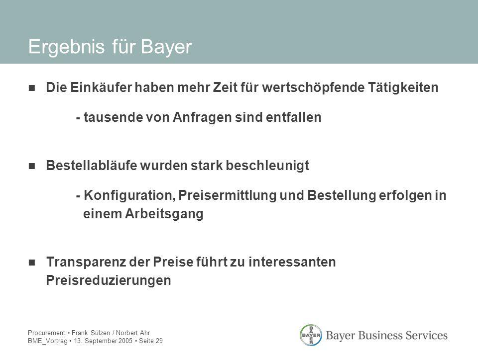 Ergebnis für Bayer Die Einkäufer haben mehr Zeit für wertschöpfende Tätigkeiten. - tausende von Anfragen sind entfallen.