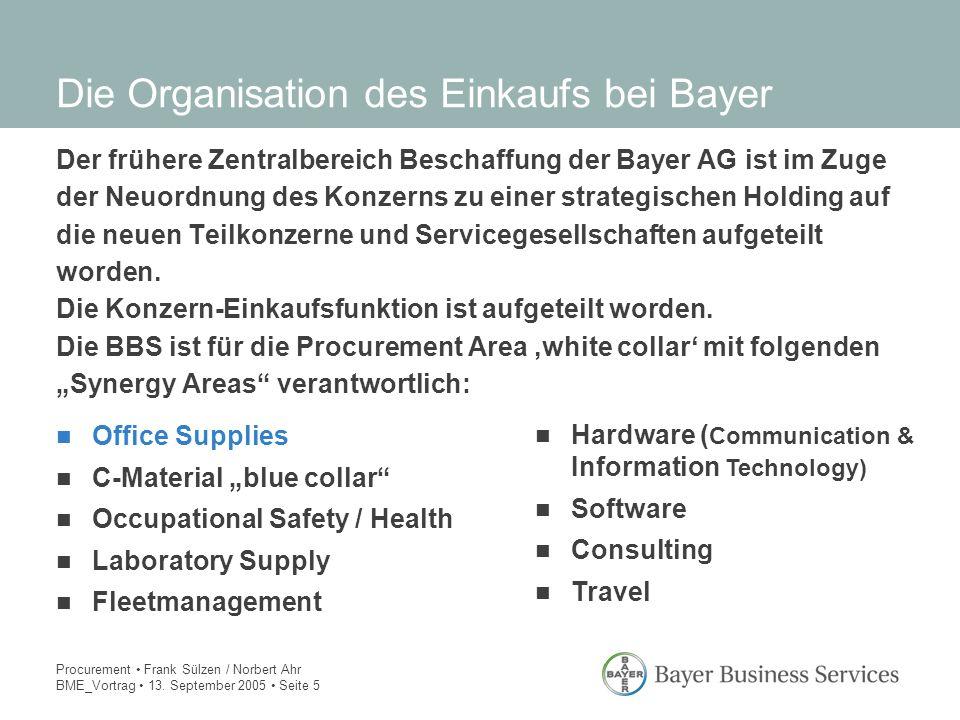 Die Organisation des Einkaufs bei Bayer