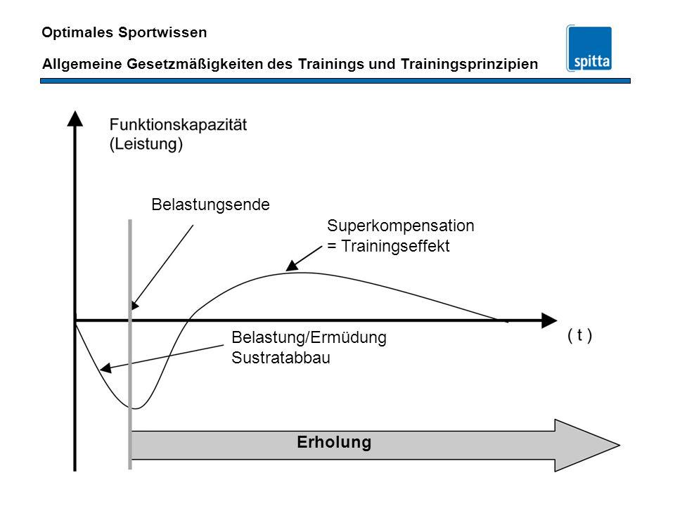 Belastungsende Superkompensation = Trainingseffekt Belastung/Ermüdung Sustratabbau Erholung