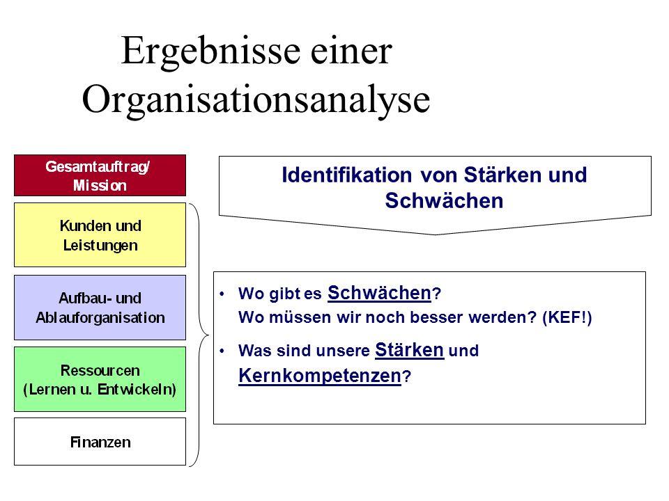 Ergebnisse einer Organisationsanalyse