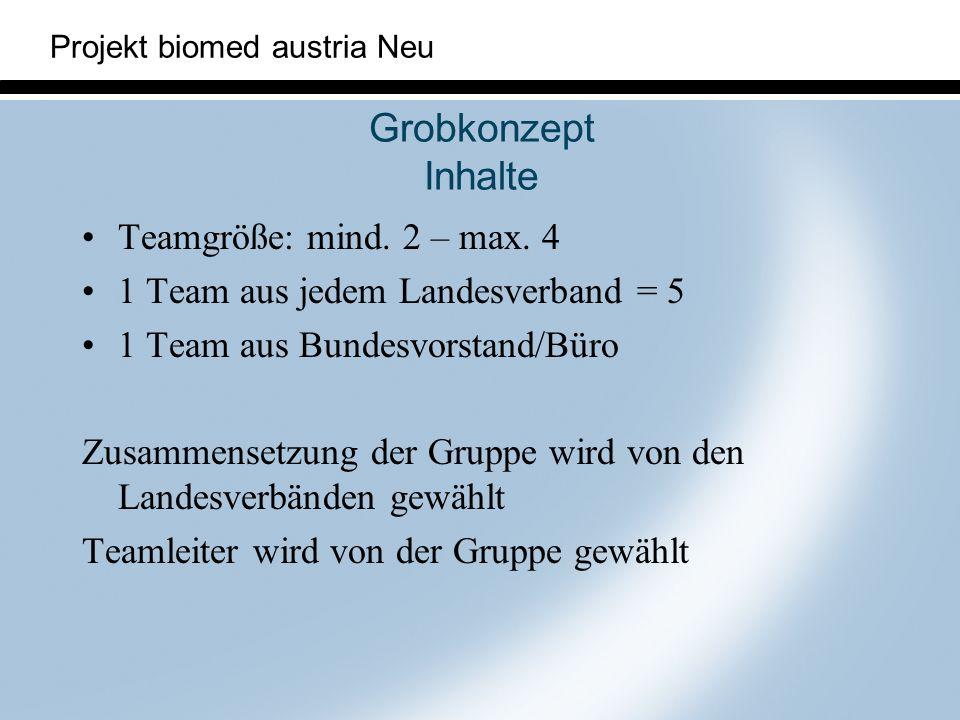 Grobkonzept Inhalte Teamgröße: mind. 2 – max. 4