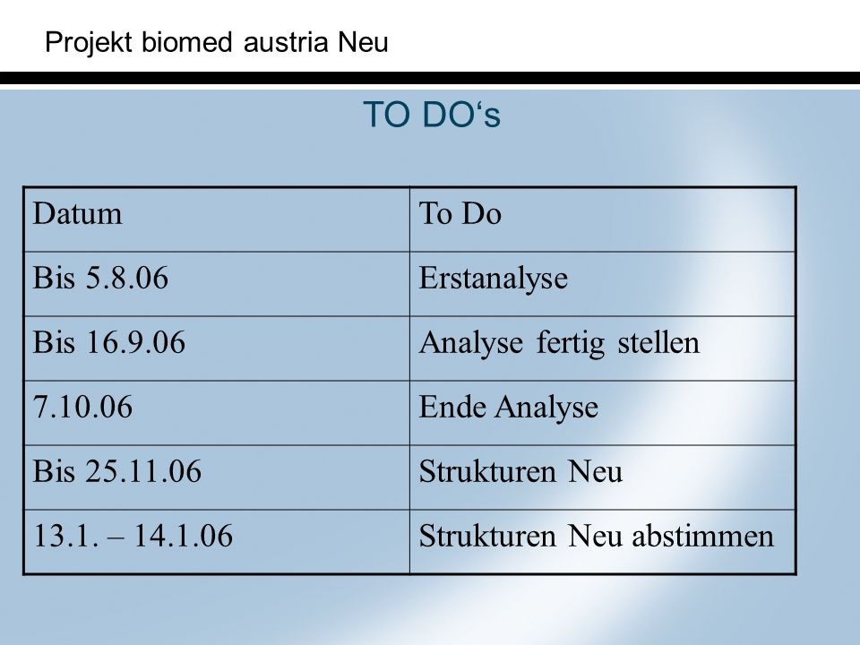 TO DO's Datum To Do Bis 5.8.06 Erstanalyse Bis 16.9.06