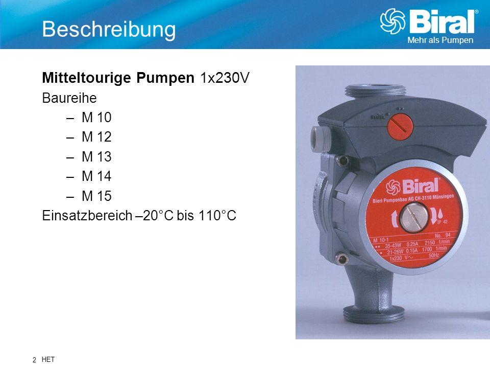 Beschreibung Mitteltourige Pumpen 1x230V Baureihe M 10 M 12 M 13 M 14