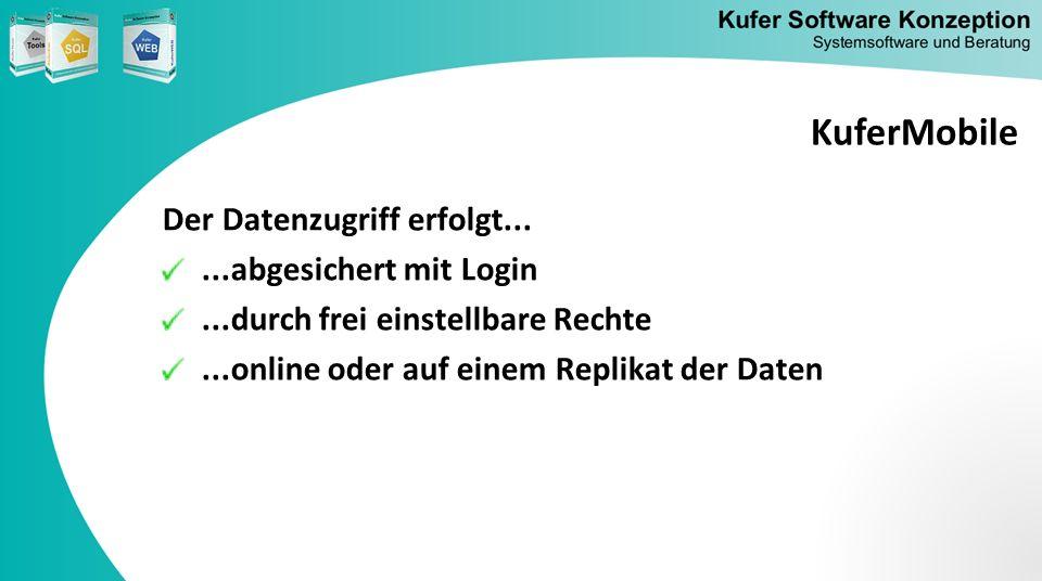KuferMobile Der Datenzugriff erfolgt... ...abgesichert mit Login