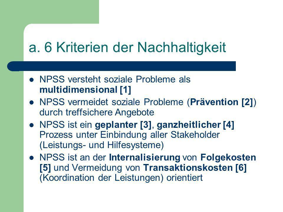 a. 6 Kriterien der Nachhaltigkeit
