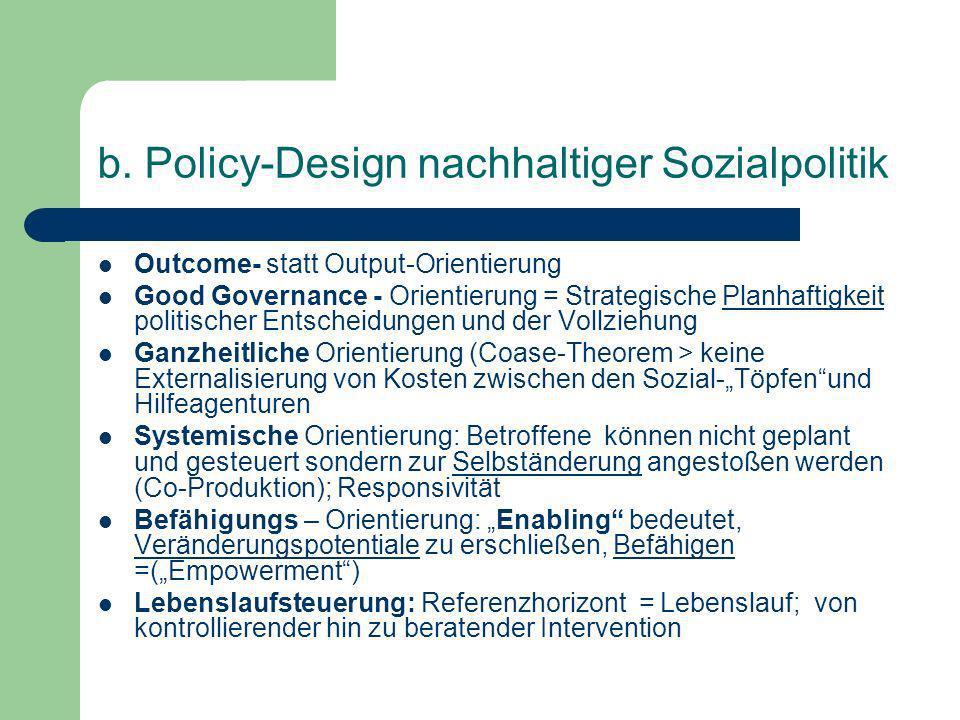 b. Policy-Design nachhaltiger Sozialpolitik