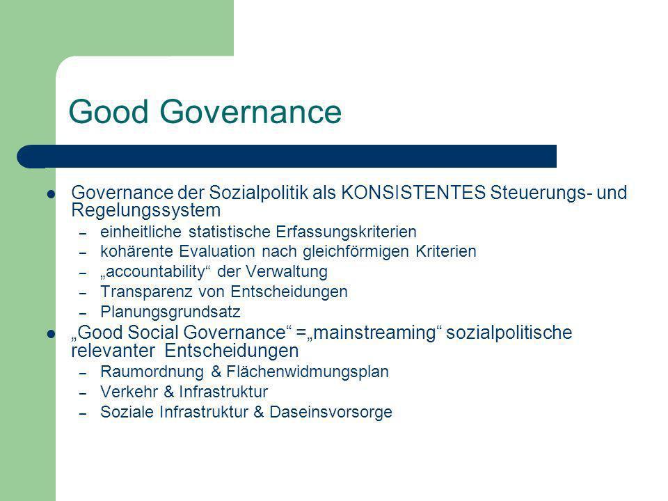Good Governance Governance der Sozialpolitik als KONSISTENTES Steuerungs- und Regelungssystem. einheitliche statistische Erfassungskriterien.