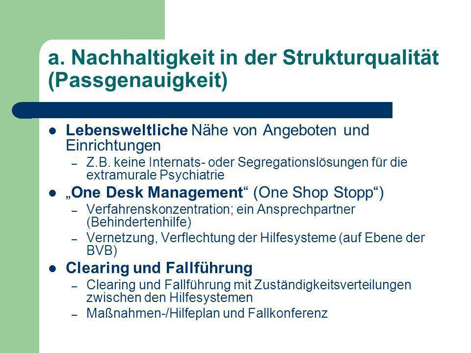 a. Nachhaltigkeit in der Strukturqualität (Passgenauigkeit)