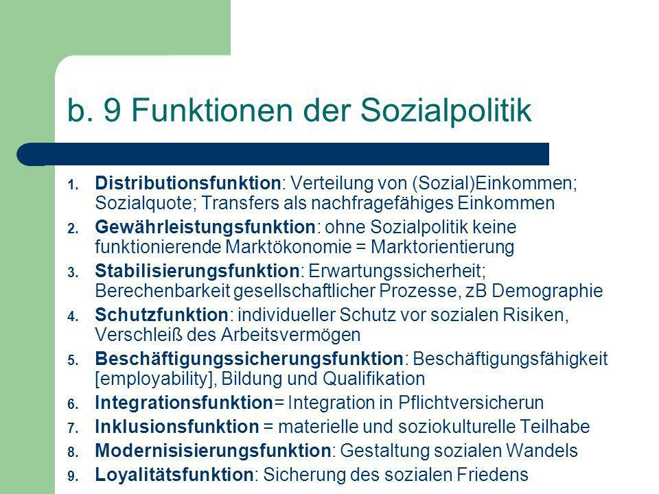 b. 9 Funktionen der Sozialpolitik