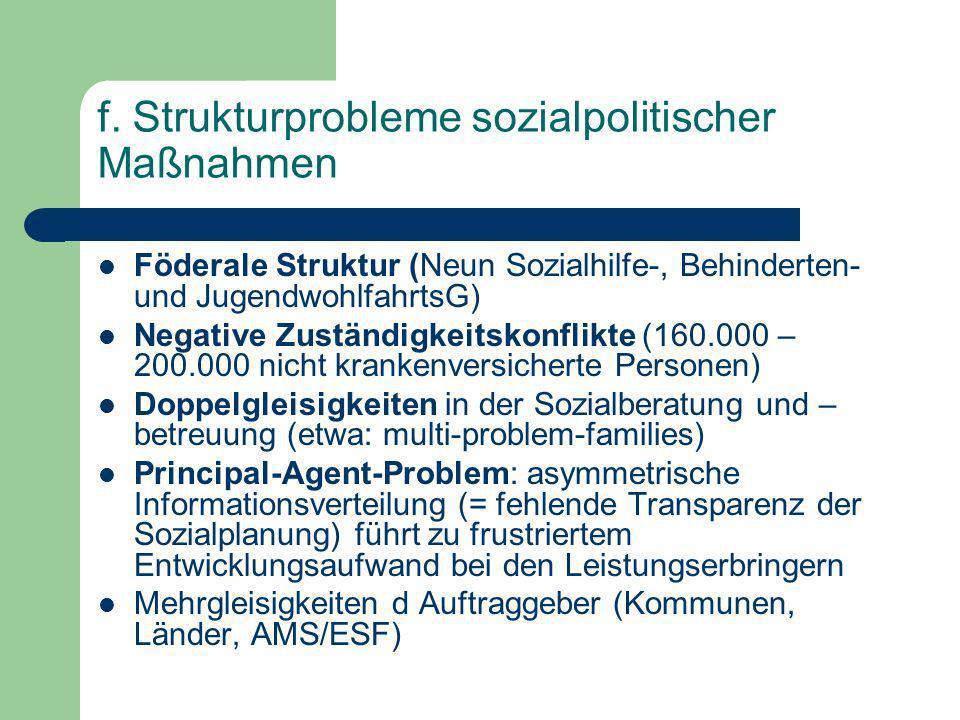 f. Strukturprobleme sozialpolitischer Maßnahmen