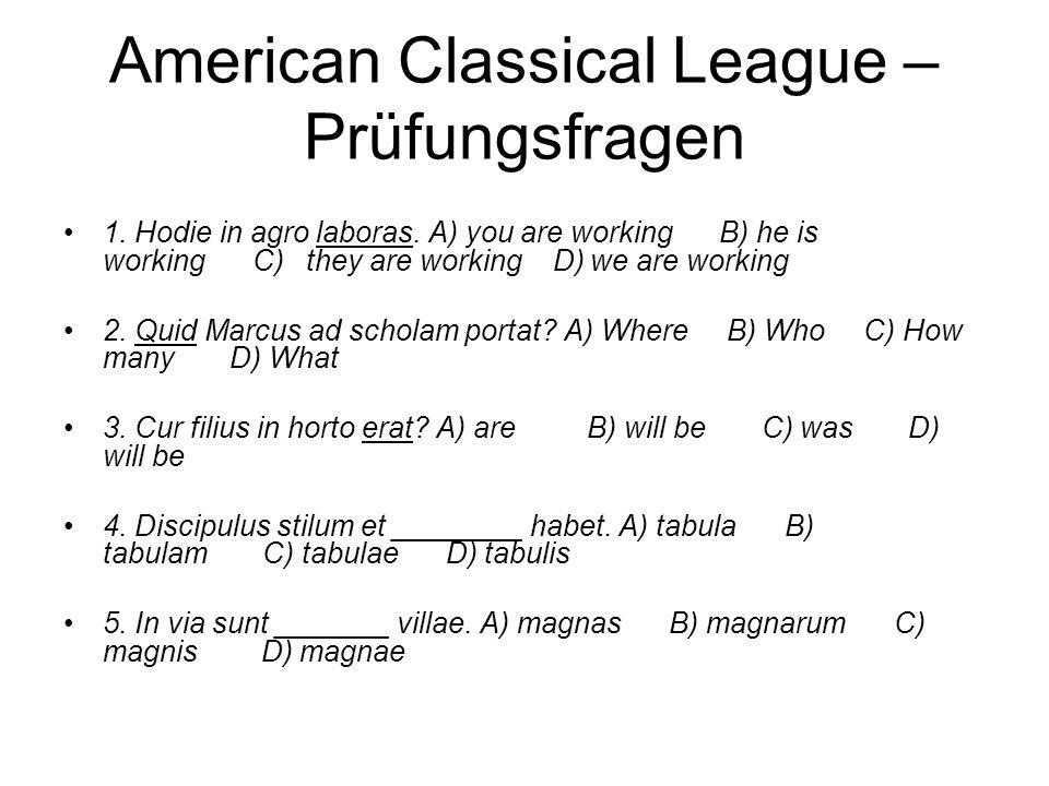 American Classical League – Prüfungsfragen