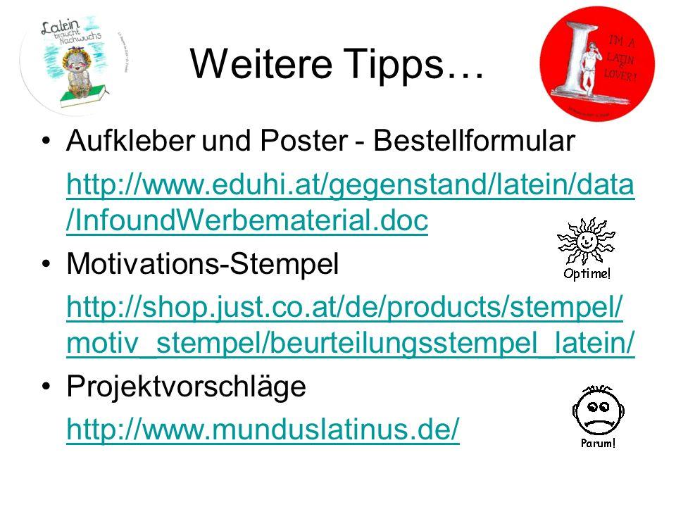 Weitere Tipps… Aufkleber und Poster - Bestellformular
