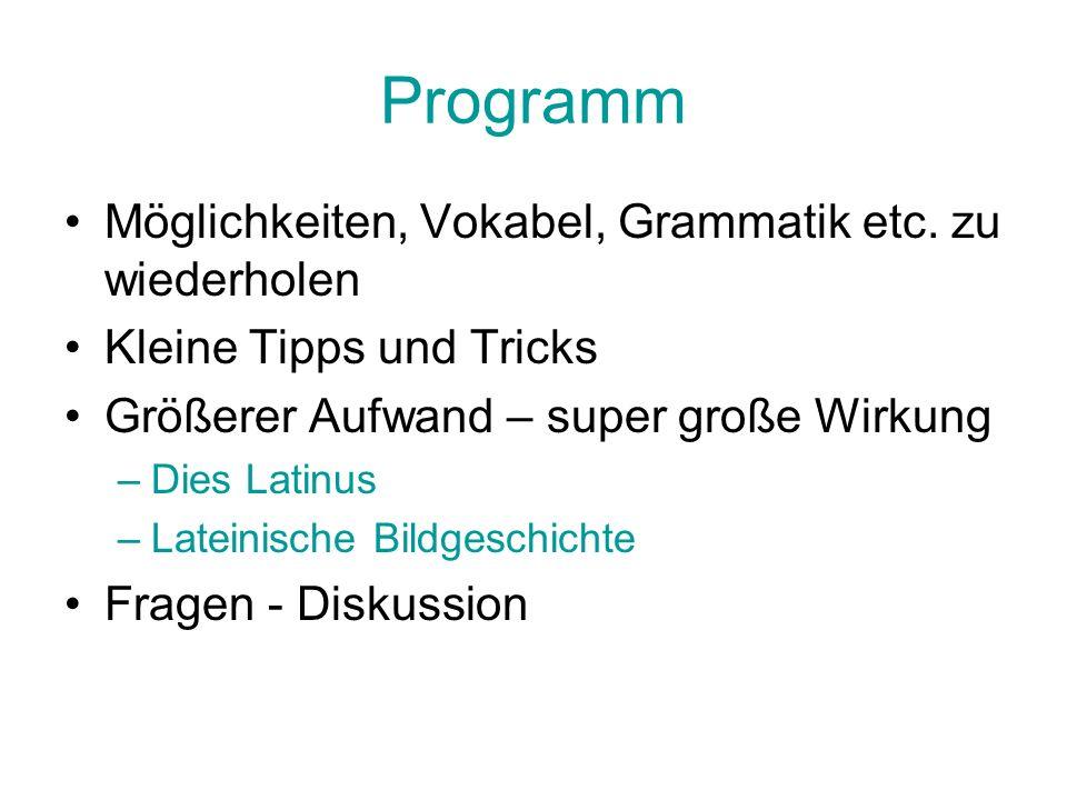 Programm Möglichkeiten, Vokabel, Grammatik etc. zu wiederholen