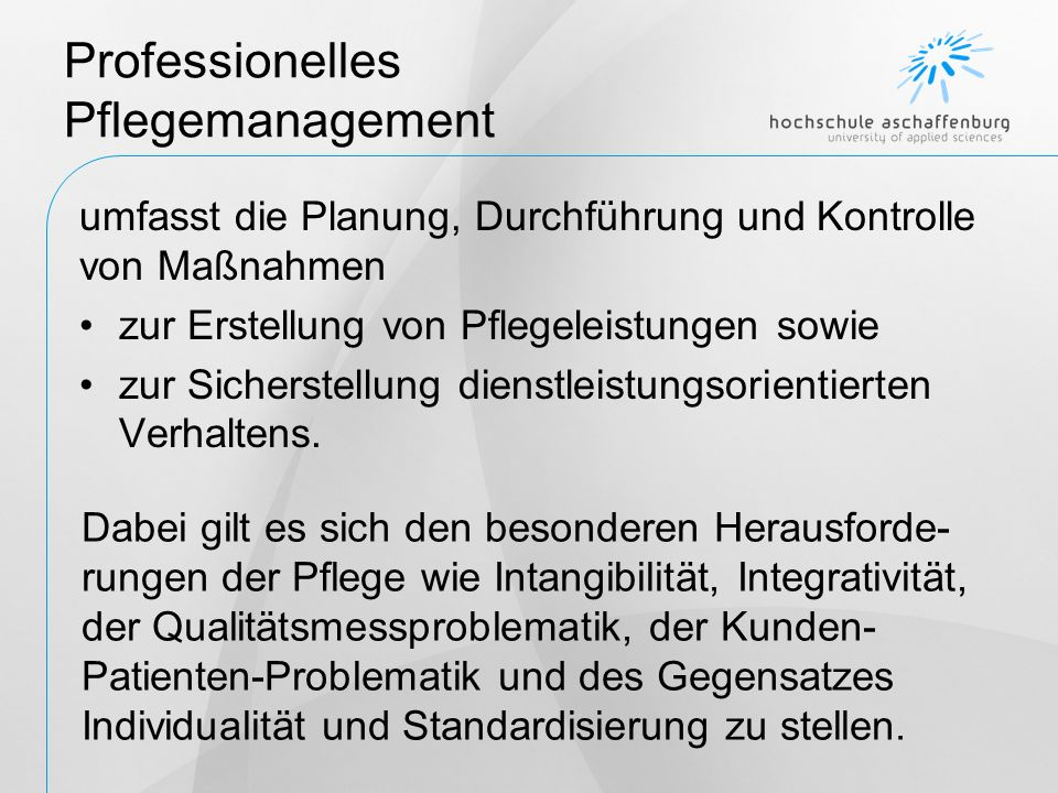 Professionelles Pflegemanagement