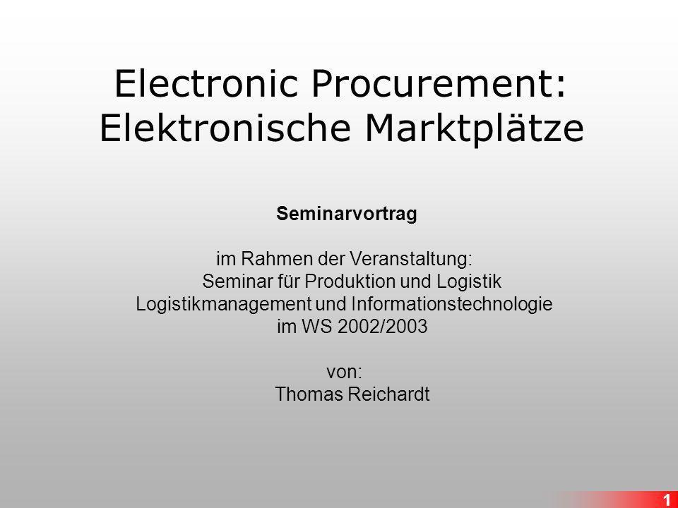 Electronic Procurement: Elektronische Marktplätze