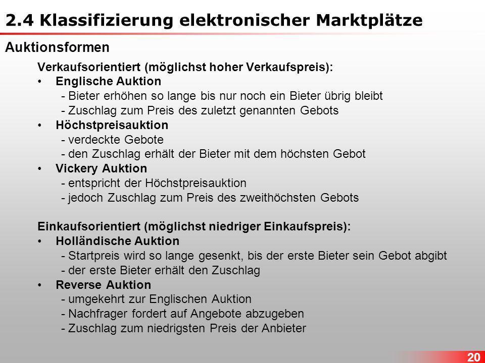 2.4 Klassifizierung elektronischer Marktplätze
