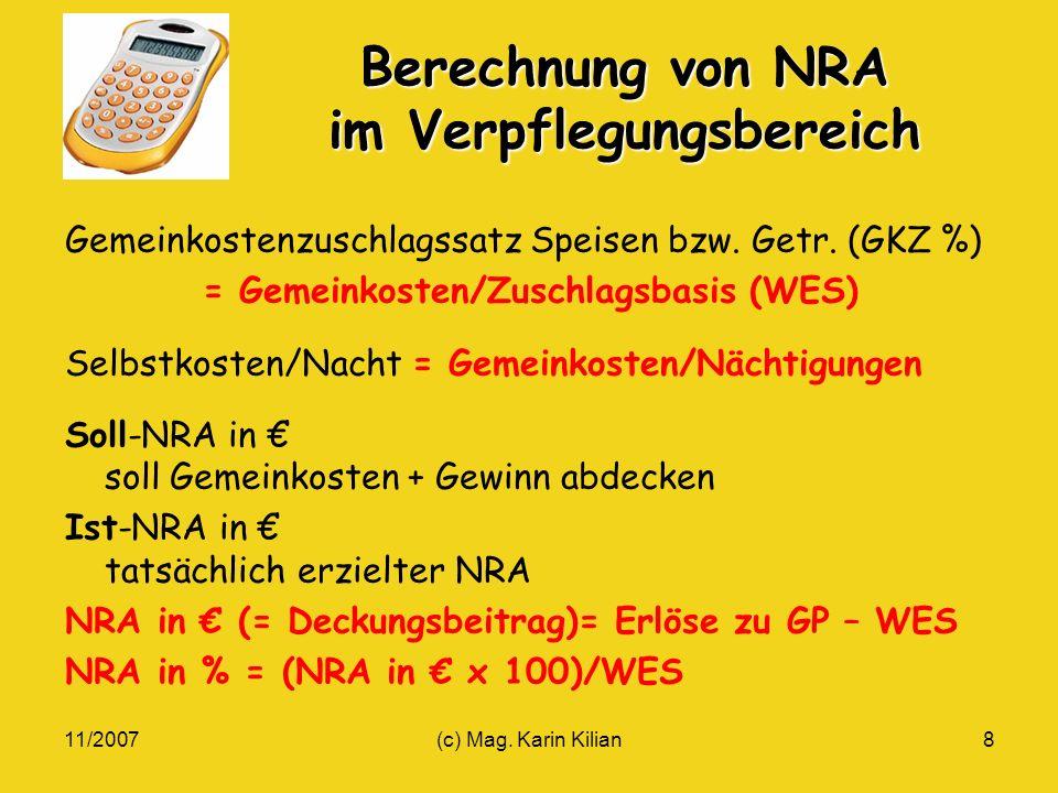 Berechnung von NRA im Verpflegungsbereich