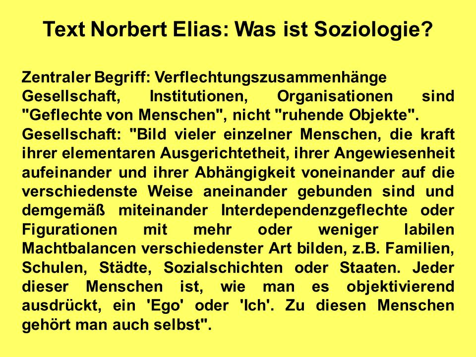 Text Norbert Elias: Was ist Soziologie