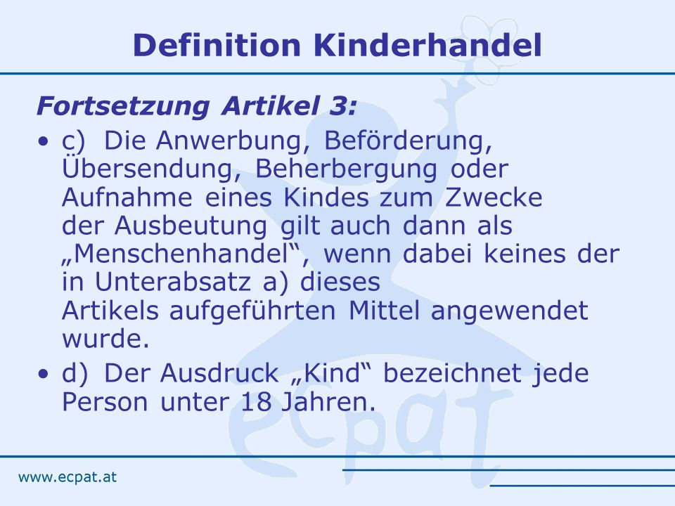 Definition Kinderhandel