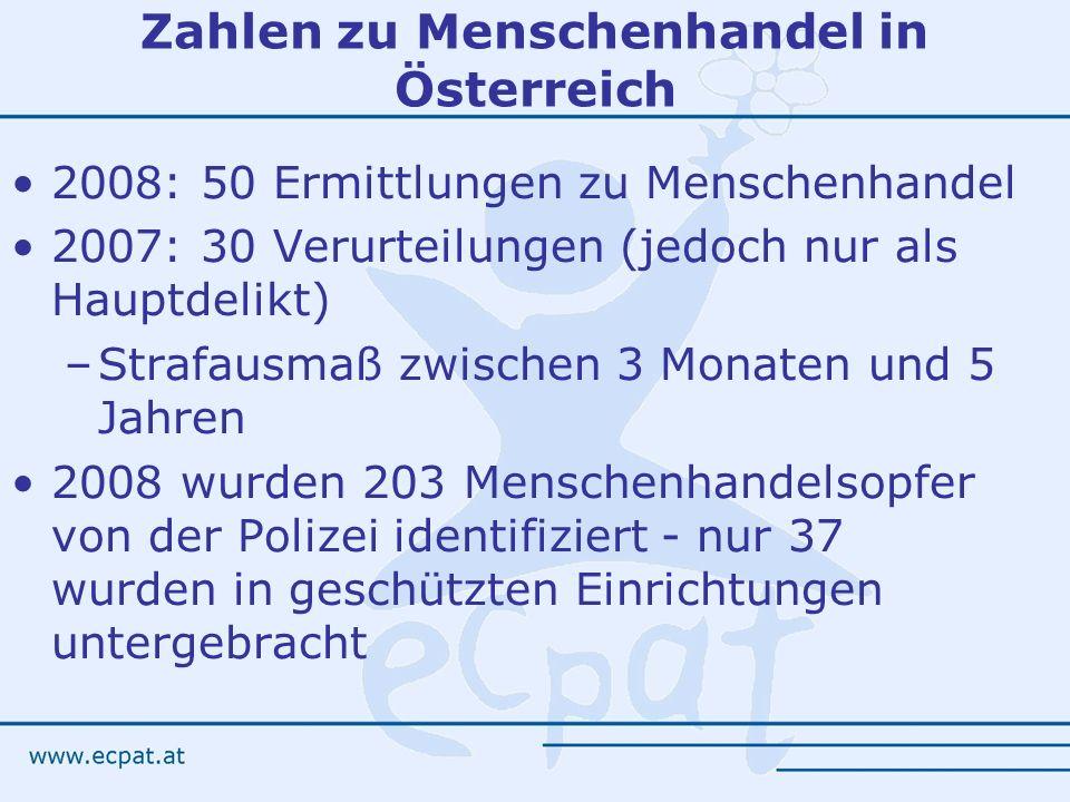 Zahlen zu Menschenhandel in Österreich