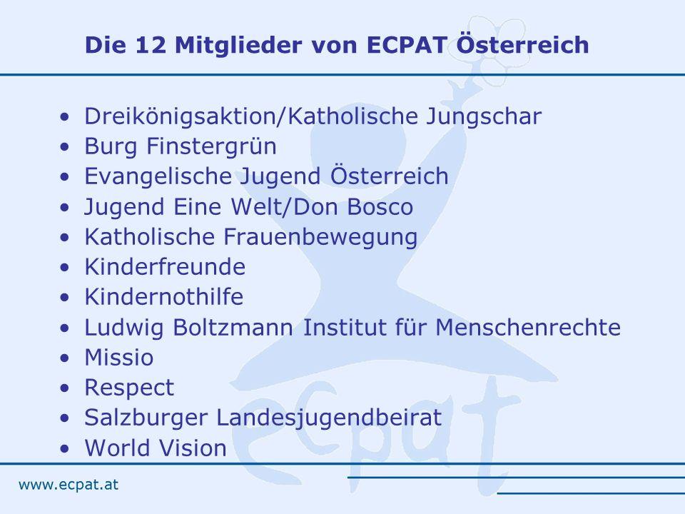 Die 12 Mitglieder von ECPAT Österreich
