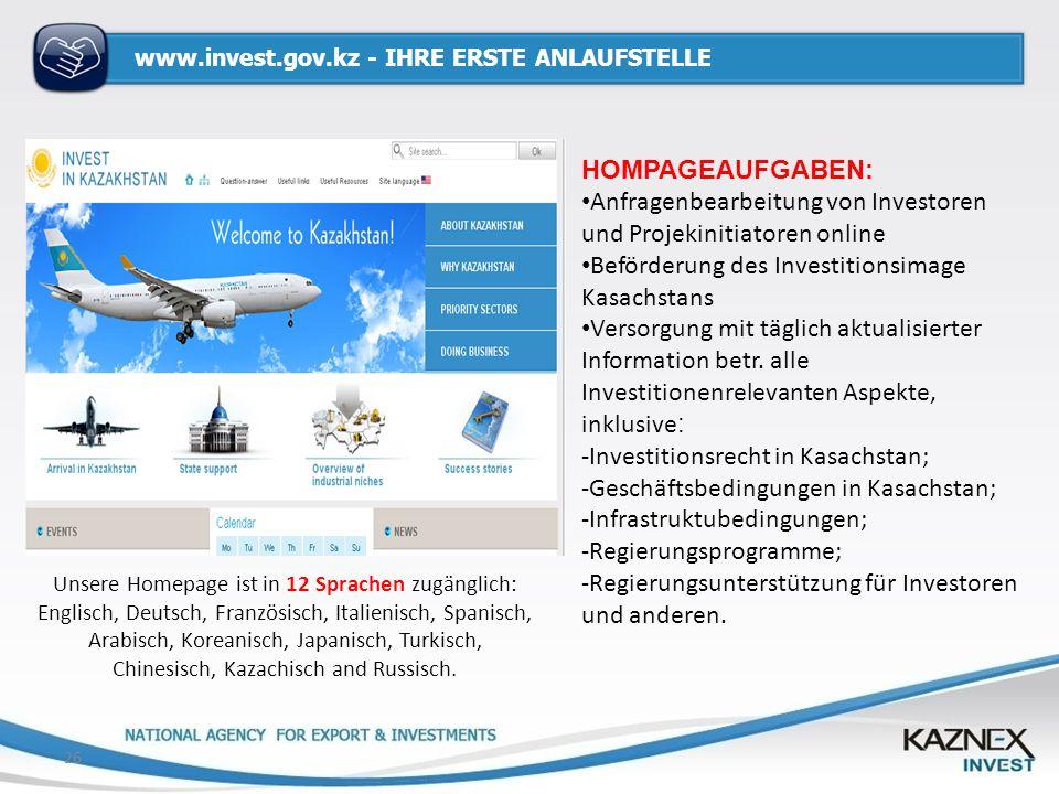 www.invest.gov.kz - IHRE ERSTE ANLAUFSTELLE