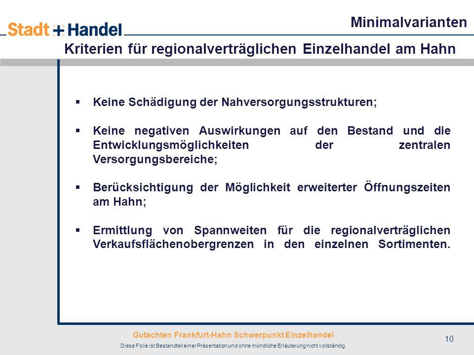 Kriterien für regionalverträglichen Einzelhandel am Hahn