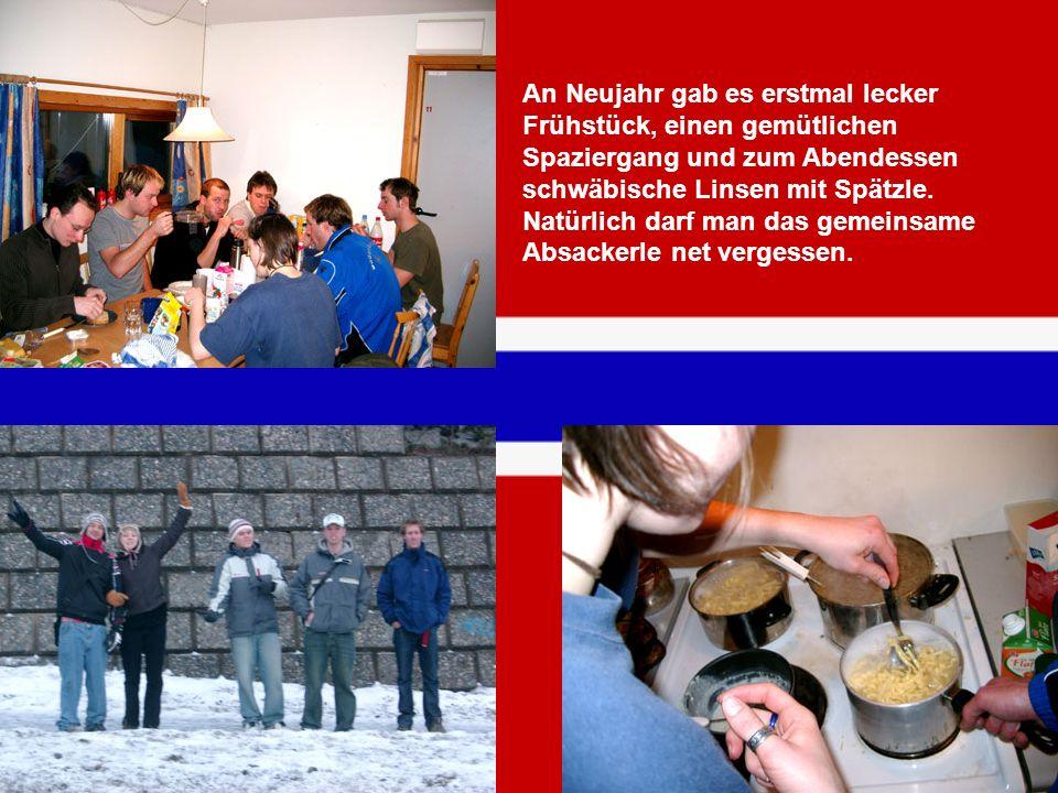 An Neujahr gab es erstmal lecker Frühstück, einen gemütlichen Spaziergang und zum Abendessen schwäbische Linsen mit Spätzle.