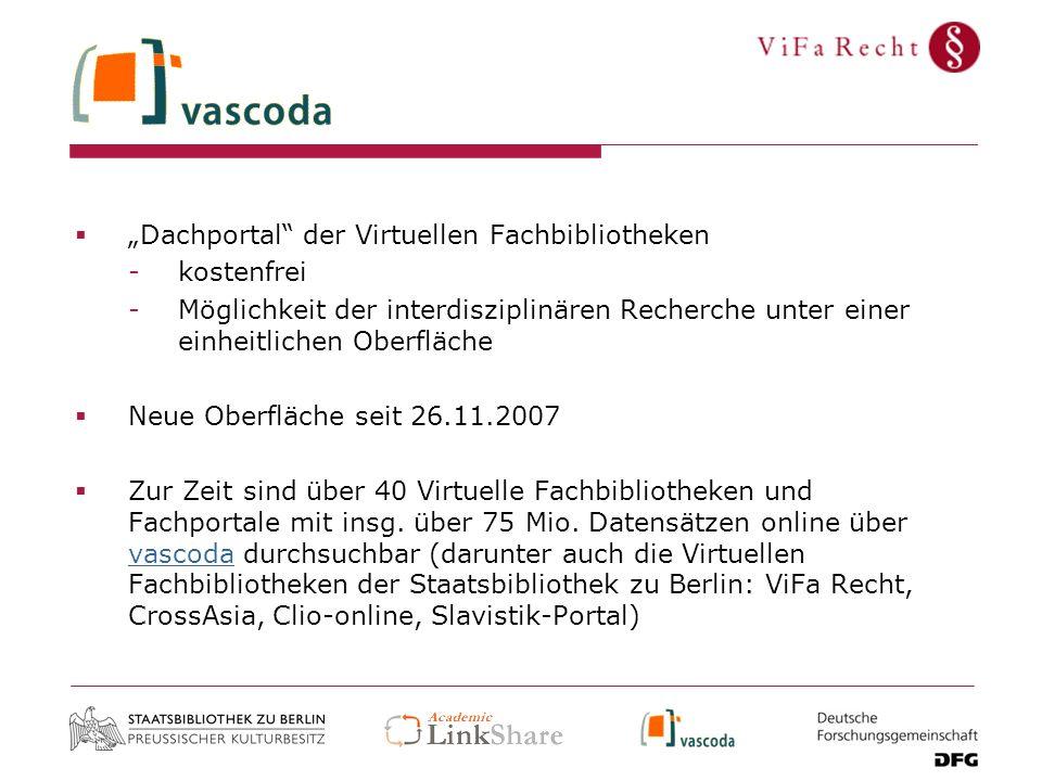 """""""Dachportal der Virtuellen Fachbibliotheken"""
