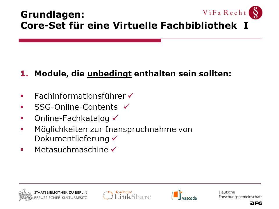 Grundlagen: Core-Set für eine Virtuelle Fachbibliothek I