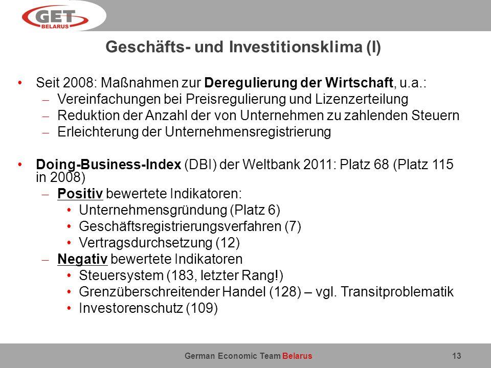 Geschäfts- und Investitionsklima (I)