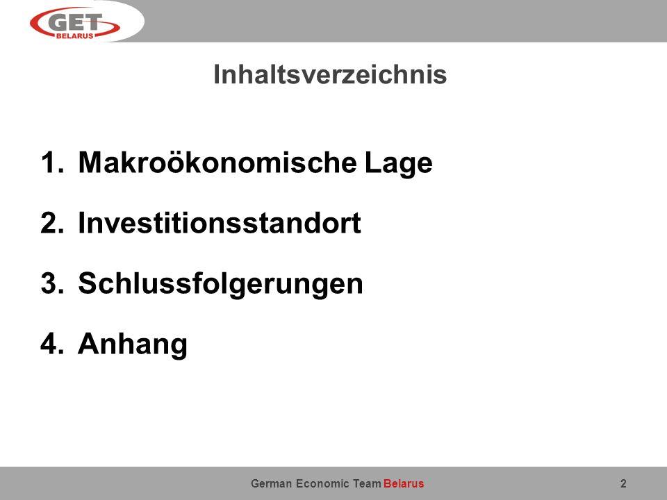 Makroökonomische Lage Investitionsstandort Schlussfolgerungen Anhang