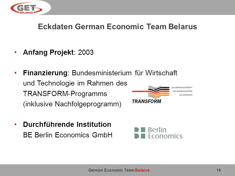 Eckdaten German Economic Team Belarus