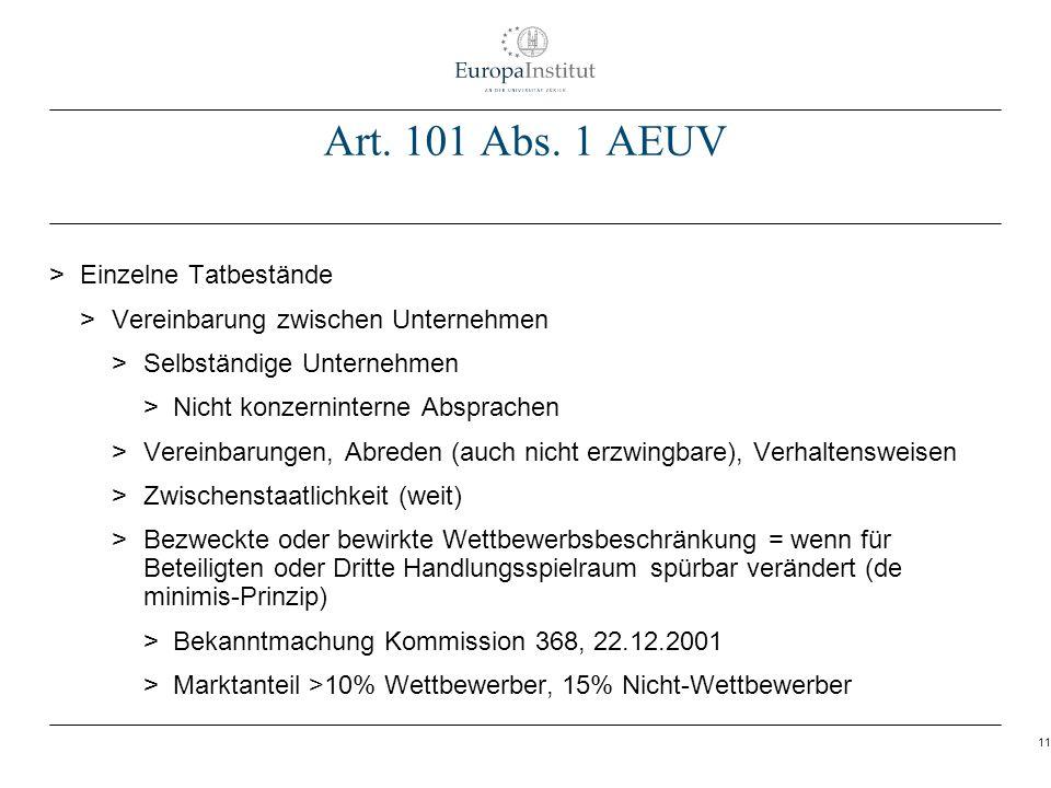 Art. 101 Abs. 1 AEUV Einzelne Tatbestände