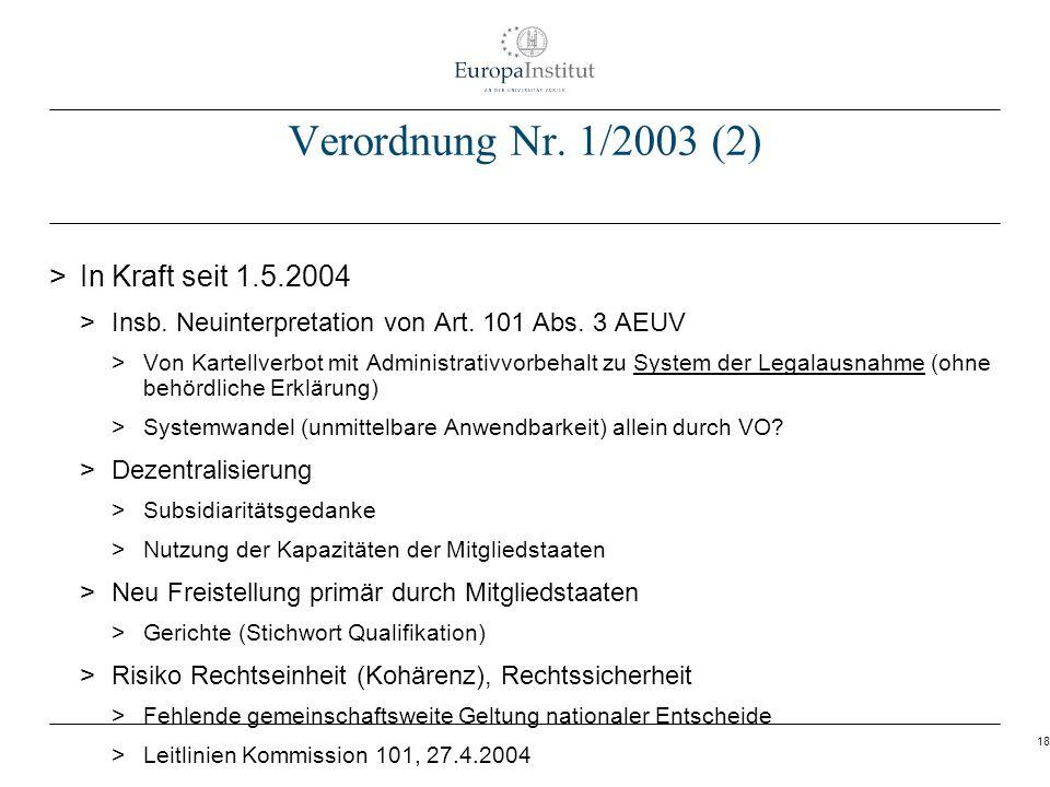Verordnung Nr. 1/2003 (2) In Kraft seit 1.5.2004